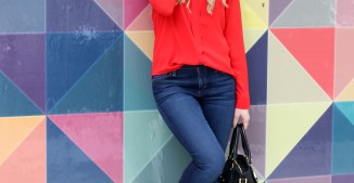 Dressing Up Denim in a Silk Bow Blouse