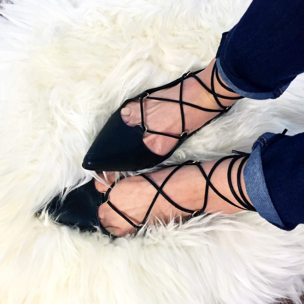 Topshop lace up flats