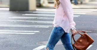 Silk Blouse + Distressed Denim