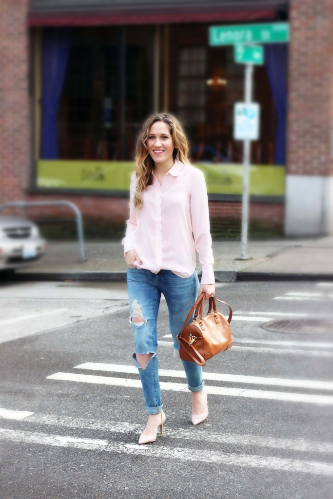 Scalloped Pink Blouse