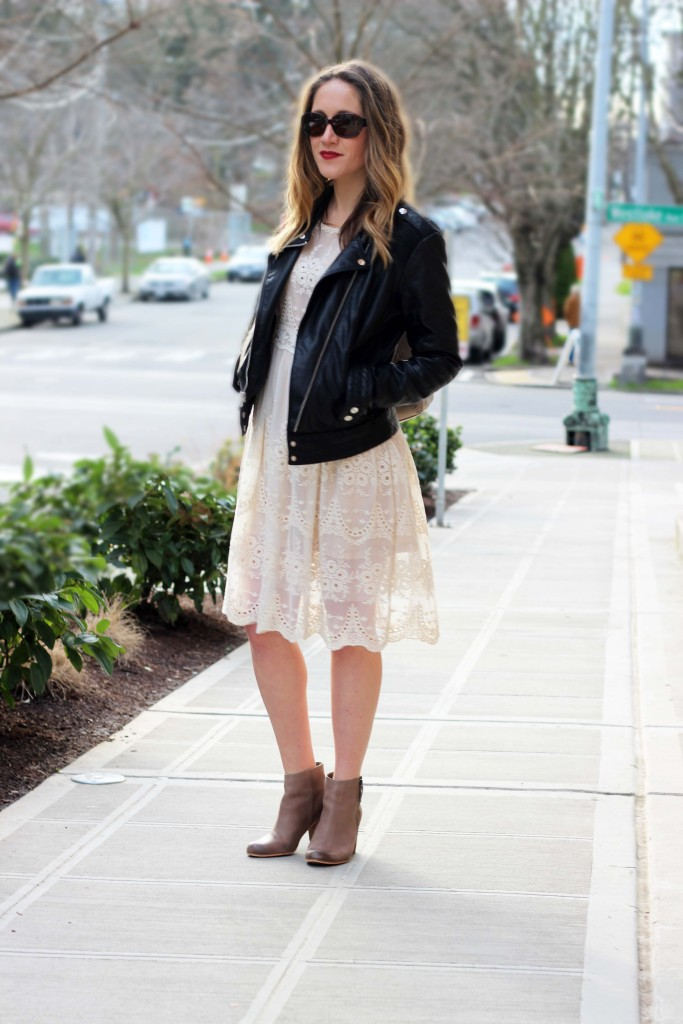 Cream Lace Dress with Moto Jacket