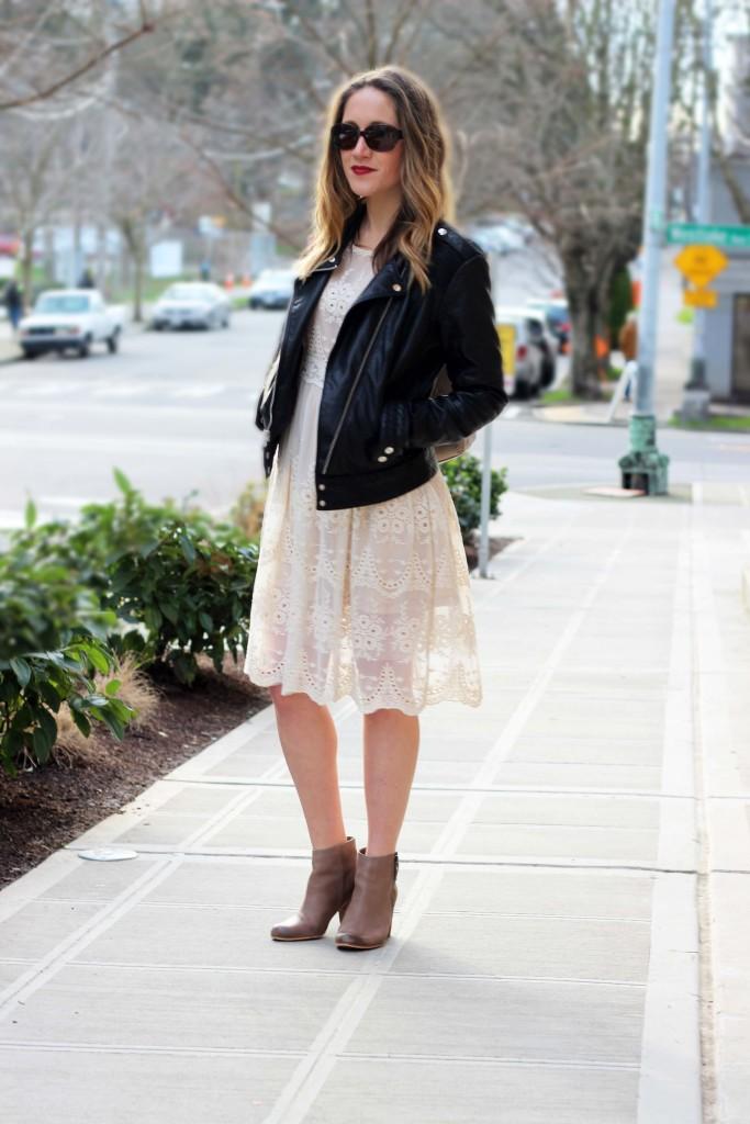 Cream Lace Dress with Moto Jacket