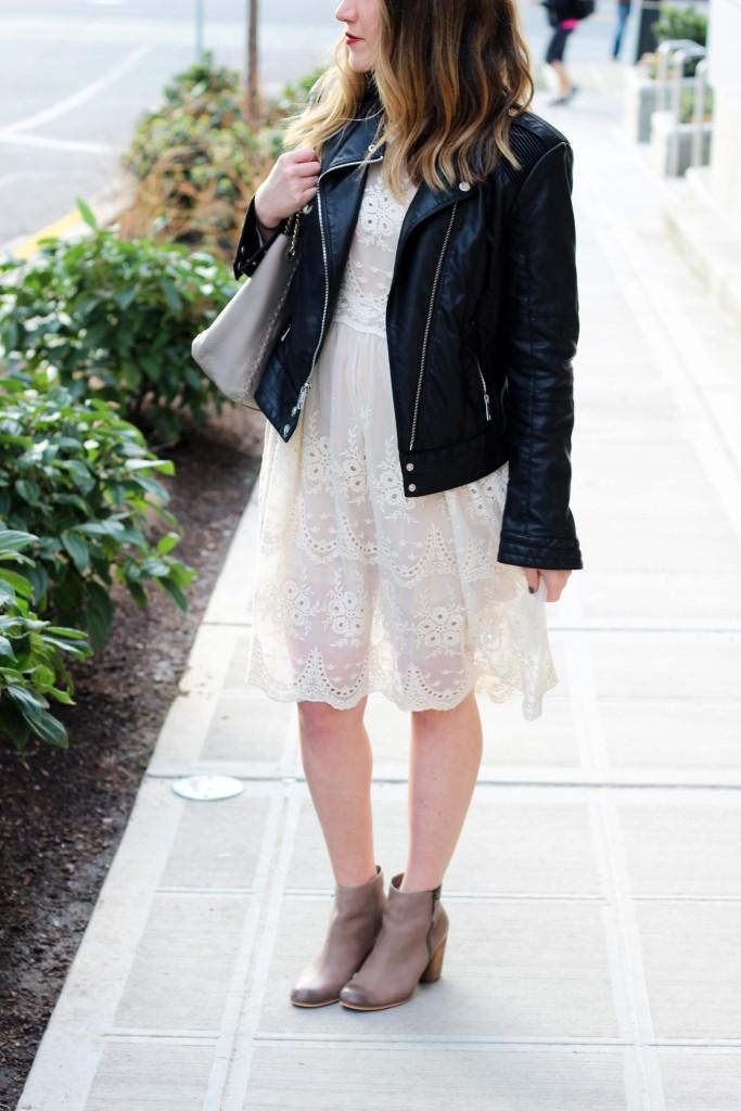 Cream Lace Chicwish Dress with Moto Jacket